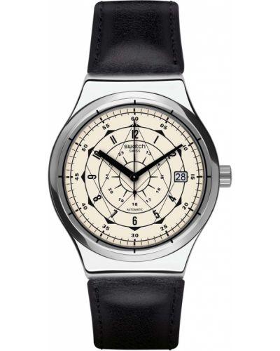 Бежевые с ремешком кожаные часы на кожаном ремешке Swatch