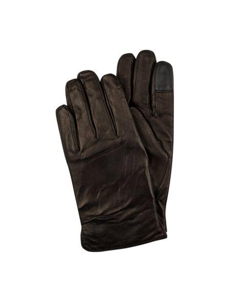 Skórzany rękawiczki prążkowany Eem-fashion