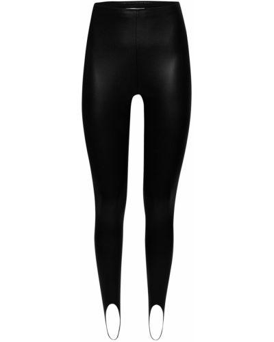 Черные кожаные леггинсы Wolford