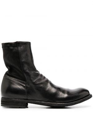Skórzany czarny buty skórzane okrągły okrągły nos Officine Creative