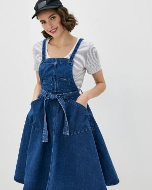 Синее джинсовое сарафан Pepe Jeans