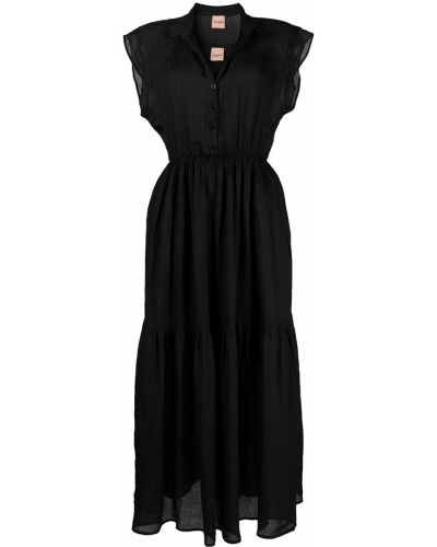 Плиссированное черное платье мини с вырезом Nude