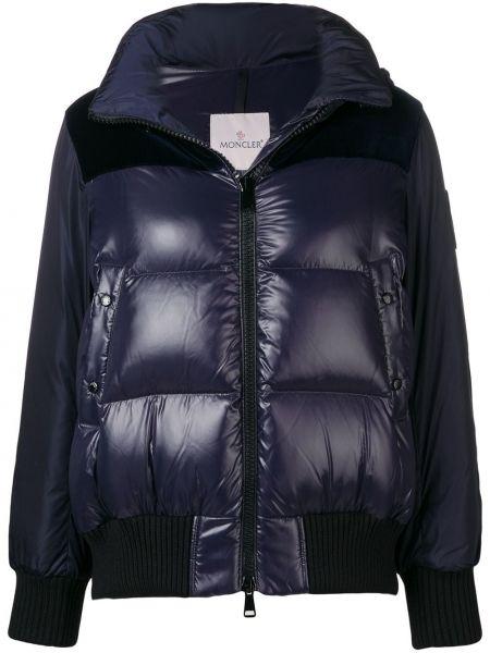 Хлопковая синяя куртка с капюшоном на молнии с гусиным пухом Moncler