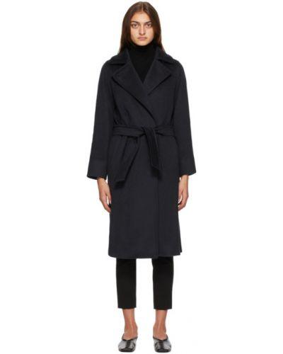 Шерстяное длинное пальто с поясом с воротником с лацканами Max Mara