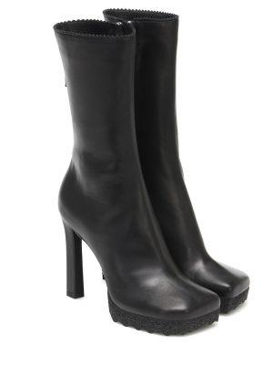 Czarny buty z prawdziwej skóry za pełne Off-white