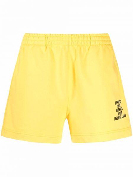 Желтые хлопковые шорты с поясом Helmut Lang