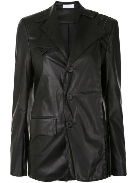 Черный удлиненный пиджак на пуговицах из вискозы Delada