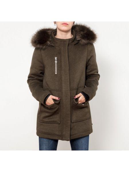 Шерстяное пальто с капюшоном айвори с капюшоном Le Temps Des Cerises