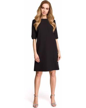 Czarna sukienka z dekoltem w serek materiałowa Stylove