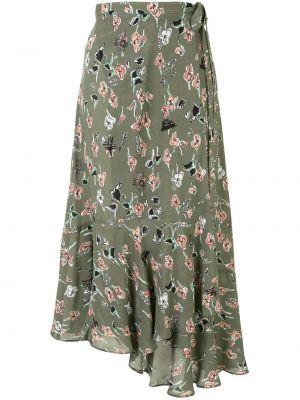 Зеленая с завышенной талией юбка миди с запахом Markus Lupfer