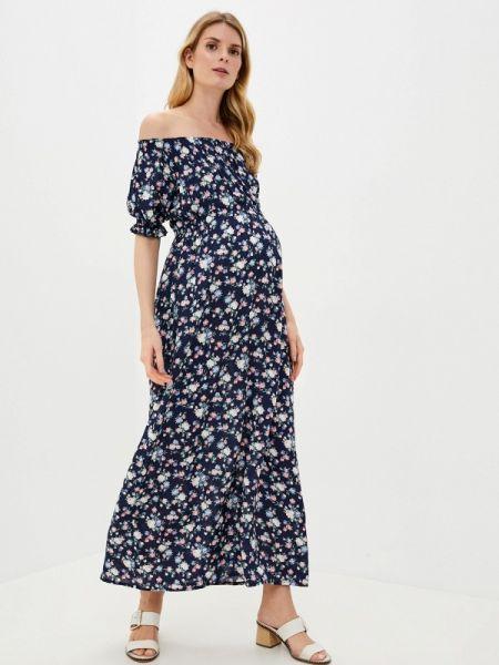 Платье с открытыми плечами синее Mammysize