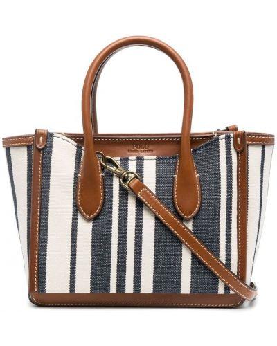 С ремешком белая кожаная маленькая сумка Polo Ralph Lauren