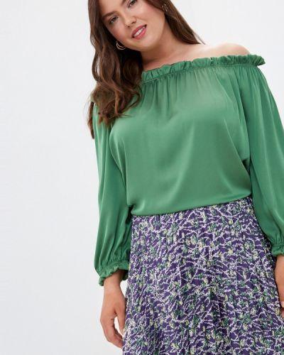 Зеленая блузка с открытыми плечами с открытыми плечами Prewoman