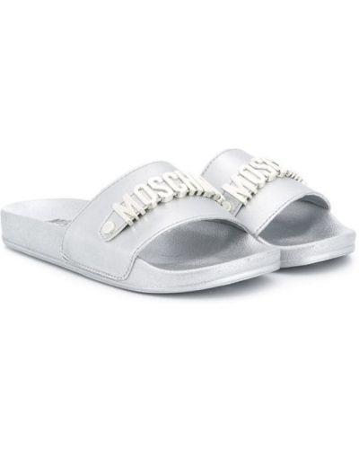 Кожаные открытые шлепанцы без застежки с открытым носком Moschino Kids