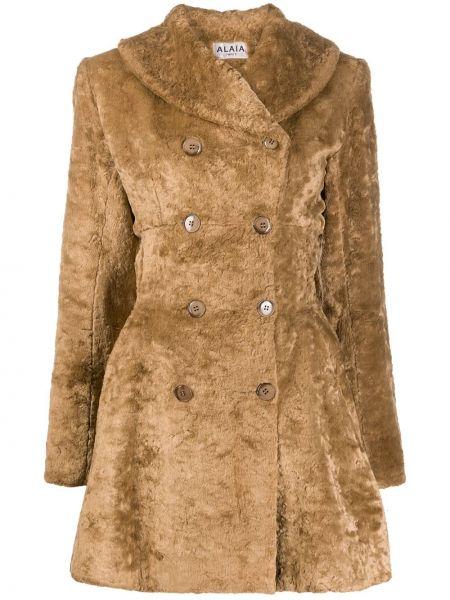 Коричневое плиссированное приталенное пальто из вискозы Alaïa Pre-owned
