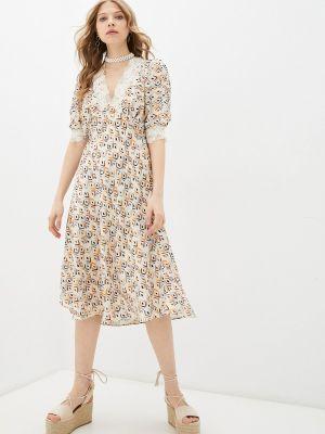 Прямое бежевое платье А-силуэта Adl