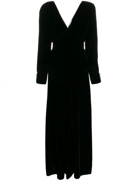 Платье с V-образным вырезом черное Forte Forte