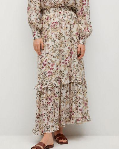 Spódnica maxi rozkloszowana z falbanami w kwiaty Mango