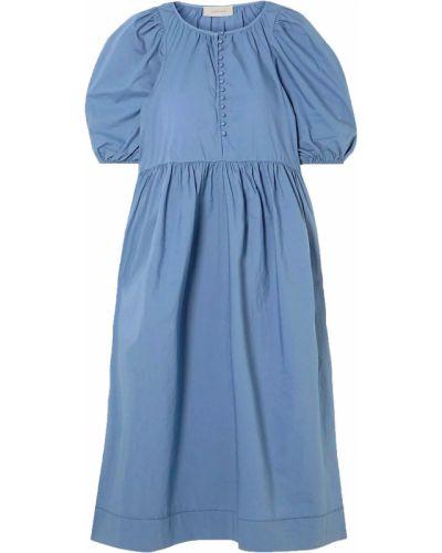 Хлопковое синее платье миди с манжетами The Great.