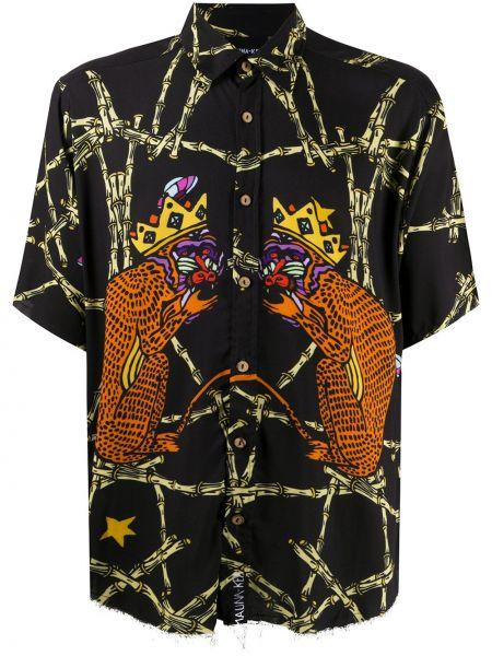 Черная прямая рубашка с короткими рукавами с воротником на пуговицах Mauna Kea