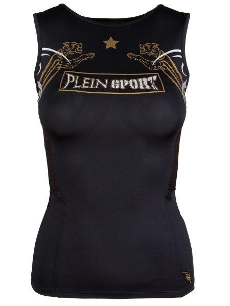 Черная футболка с круглым вырезом круглая Plein Sport