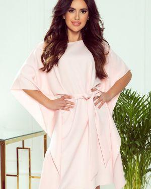 Różowa sukienka z paskiem materiałowa Numoco