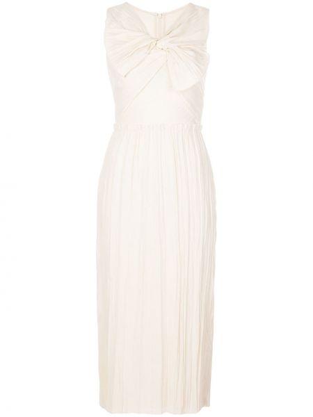 Плиссированное серое платье миди без рукавов на молнии Jason Wu Collection