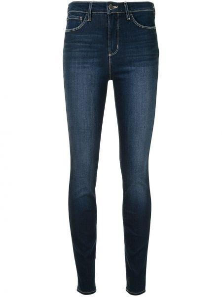 Хлопковые синие с завышенной талией джинсы-скинни L'agence