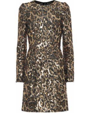 Коричневое нейлоновое платье мини Dolce & Gabbana