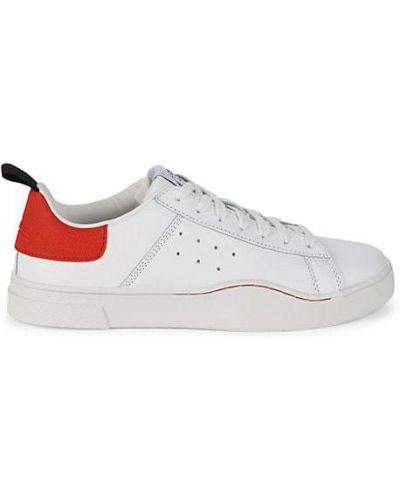 Кожаные белые кроссовки на шнурках Diesel