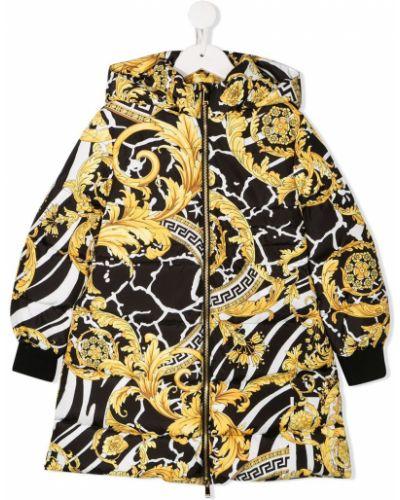 Пуховое желтое длинное пальто стрейч Young Versace