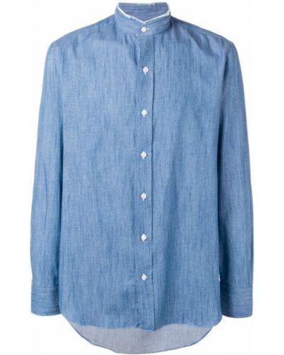 Рубашка с длинным рукавом с воротником-стойкой с карманами Salvatore Piccolo