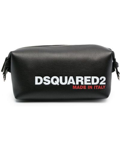 Skórzany czarny torba kosmetyczna z kieszeniami Dsquared2