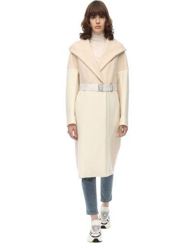 Кашемировое длинное пальто с капюшоном с пряжкой Sportmax