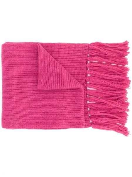 Prążkowany różowy szalik wełniany Ami Paris