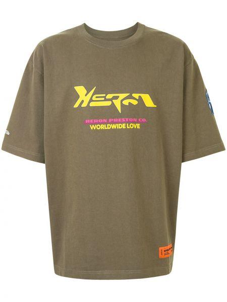 Bawełna prosto zielony koszula z krótkim rękawem z łatami Heron Preston