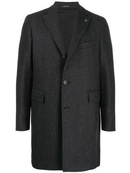 Однобортное серое шерстяное длинное пальто Tagliatore