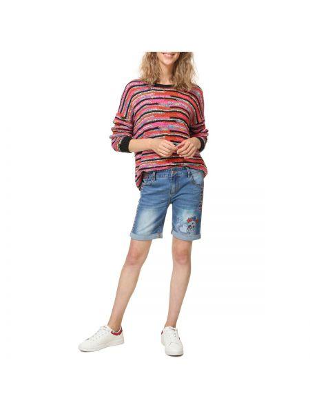 Джинсовые шорты с вышивкой из вискозы Desigual