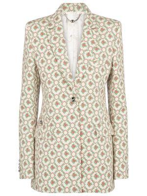 Хлопковый бежевый пиджак винтажный Paco Rabanne