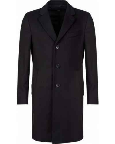 Черное шерстяное пальто Hugo Boss