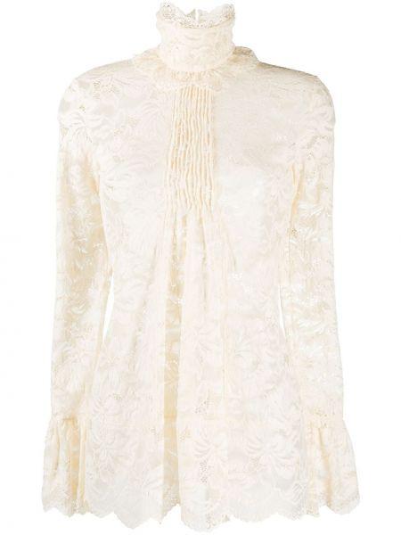 С рукавами кружевная белая блузка Paco Rabanne