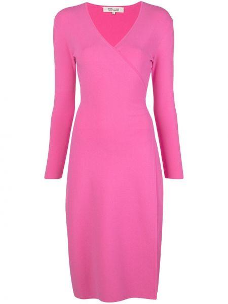 Платье с поясом розовое с запахом Dvf Diane Von Furstenberg