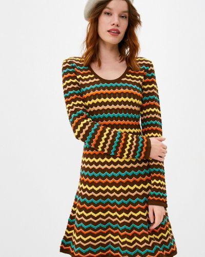 Коричневое трикотажное вязаное платье Missoni