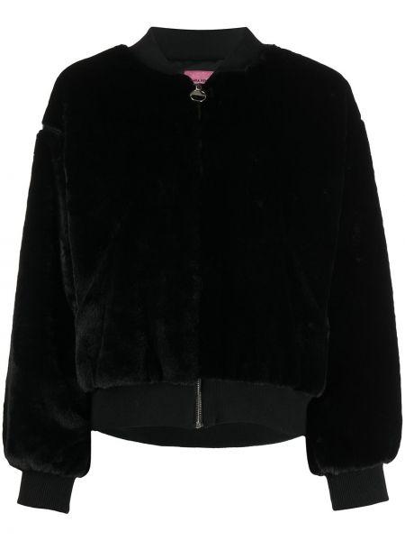 Черная длинная куртка с вышивкой с воротником из вискозы Chiara Ferragni