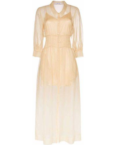 Приталенное платье макси с воротником с манжетами с капюшоном Deitas