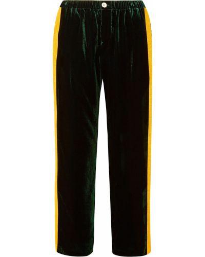 Шелковые зеленые брюки с накладными карманами Sleepy Jones