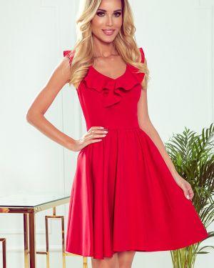 Czerwona sukienka z falbanami materiałowa Numoco