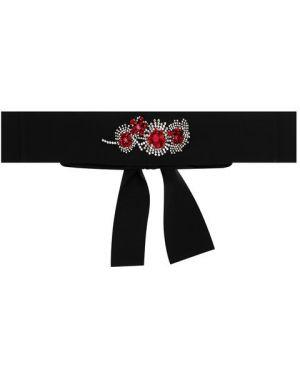Тонкий ремень черный с цветочным принтом Sara Roka