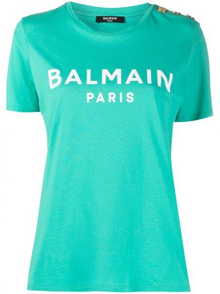 Зеленая прямая с рукавами футболка Balmain