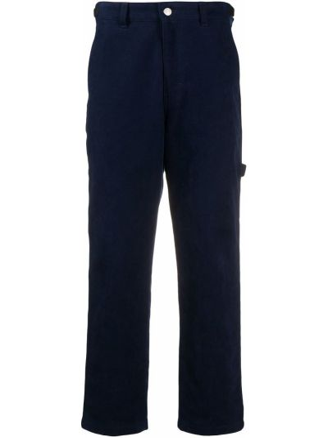 Niebieskie spodnie bawełniane z paskiem Ami